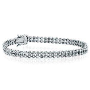 Double row round cut 5.60 carats diamonds Bracelet